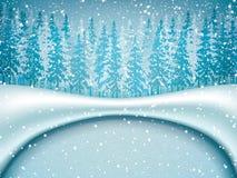 Winter landscape. Vector illustration of winter landscape with frozen lake in forest royalty free illustration