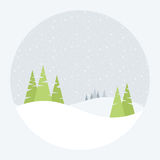 Winter Landscape. Vector illustration of a winter landscape with pine trees and snow Stock Image