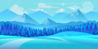Winter landscape. Vector illustration. Royalty Free Stock Images