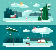 Winter landscape vector illustrations set in flat design style Royalty Free Stock Photos