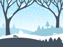 Winter Landscape. Vector Nature Scene. With Trees, Roe Deer and Field Covered with Snow Royalty Free Stock Photography