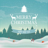 Winter landscape. vector. Winter landscape with spruce tree and snowfall Stock Image