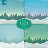 Winter landscape. vector. Winter landscape with spruce tree and snowfall Royalty Free Stock Photo
