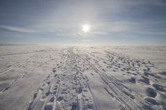 Winter landscape with a very beautiful sky Royalty Free Stock Images