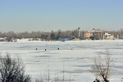 Winter landscape. View of the Dnieper. Royalty Free Stock Photos
