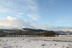 A winter landscape view of the dramatic mountains at Kinloch Rannoch,  Perthshire, Scotland, UK. Winter landscape view of the dramatic mountains at Kinloch Stock Photo