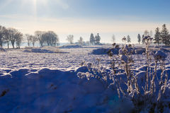 Winter landscape view fields forests covered snow Royalty Free Stock Photo