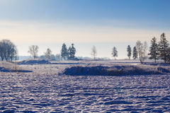 Winter landscape view fields forests covered snow Royalty Free Stock Photos