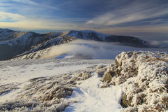Winter landscape with a view of the hilly to mountainous with fr Stock Photography