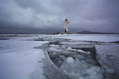 Winter landscape with a view of the lighthouse Stock Photo