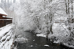 Winter landscape with view of the mountain river Royalty Free Stock Photo