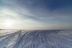 Winter landscape with a view of the setting sun Royalty Free Stock Photography