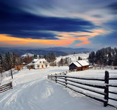 Winter landscape in the village. Royalty Free Stock Photo