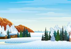 Winter landscape with village, forest Stock Photography