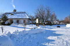 Winter landscape, village houses Stock Photos