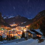 Winter landscape of village in the mountains Royalty Free Stock Images