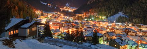 Winter landscape of village in the mountains Stock Photo
