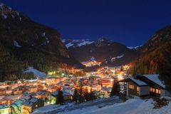 Winter landscape of village in the mountains Stock Images