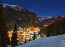 Winter landscape of village in the mountains Stock Image