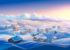 Winter landscape with village. Raster illustration. Royalty Free Stock Photography