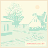 Winter landscape, vintage christmas background, card, Royalty Free Stock Photos