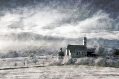 Winter landscape vintage painting Royalty Free Stock Photography