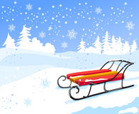 Winter landscape with vintage sled Royalty Free Stock Image