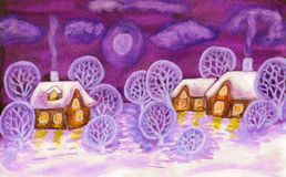 Winter landscape in violet colours, painting Stock Photography