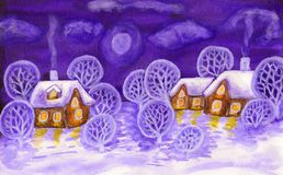 Winter landscape in violet colours, painting. Hand painted picture, winter landscape with houses and trees, can be used as Christmas - New Year holiday postcard royalty free stock photography