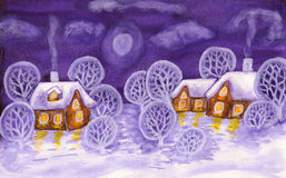 Winter landscape in violet colours, painting royalty free stock photo