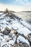 Winter landscape with Vistula river Stock Photo