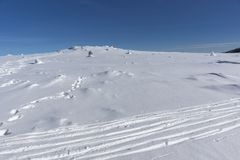 Winter landscape of Vitosha Mountain, Sofia City Region, Bulgaria stock photography