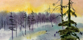 Winter landscape watercolor Stock Image