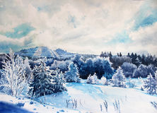 Winter landscape watercolor. Illustration on paper Ural Mountains winter landscape with pine trees watercolor. My painting on paper, without the use of special stock photos