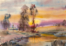 Winter landscape watercolor. Winter landscape of the river and the Church Royalty Free Stock Image