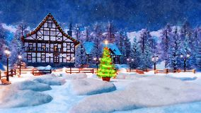 Snowbound town at Christmas night in watercolor. Winter landscape in watercolor - snowbound mountain town with illuminated half-timbered house and decorated royalty free stock images
