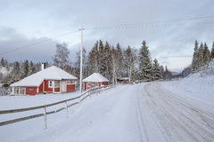 Winter landscape with a way, Norway Stock Images