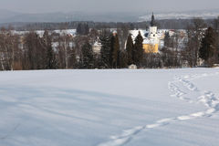 Winter landscape in Western Bohemia, Czech Republic. Royalty Free Stock Image