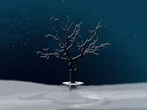 Winter landscape with white abstract tree and bench Royalty Free Stock Photography