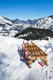 Winter landscape. White winter land, wooden sledge Stock Photography