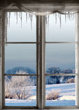 Winter landscape through window Royalty Free Stock Photos