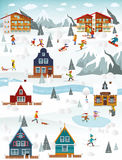 Winter landscape and winter activities Royalty Free Stock Photos