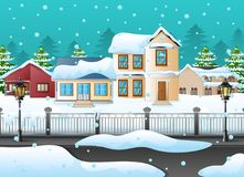 Free Winter Landscape With House And Snowy On The Street Stock Images - 103515594