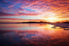 Free Winter Landscape With Lake And Sunset Fiery Sky. Stock Photo - 36142130