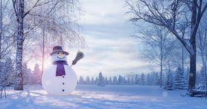 Winter Landscape With Snowman, Christmas Background Stock Photo