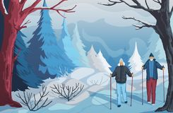 Free Winter Landscape With Snowy Hills, Bushes, Trees And Firs. Senior Couple Hiking And Nordic Walking In Park. Stock Photo - 162668320