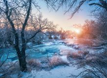 Free Winter Landscape With Snowy Trees, Ice, Beautiful Frozen River Royalty Free Stock Images - 106909499