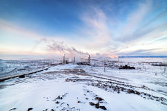 Free Winter Landscape With The Smoking Pipes Of Steel Works. Royalty Free Stock Image - 85881886