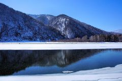 Winter landscape. Wood lake under snow and ice. Winter. Royalty Free Stock Images