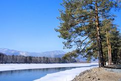 Winter landscape. Wood lake under snow and ice. Winter. Stock Photo